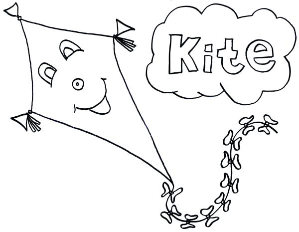 600x465 Kites Coloring Pages Happy Face Kite Coloring Page Color Kites