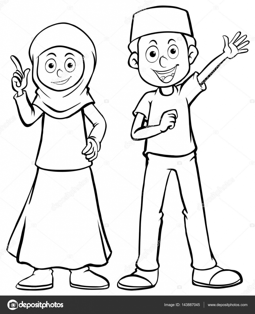 830x1024 Muslim Man And Woman With Happy Face Stock Vector Brgfx