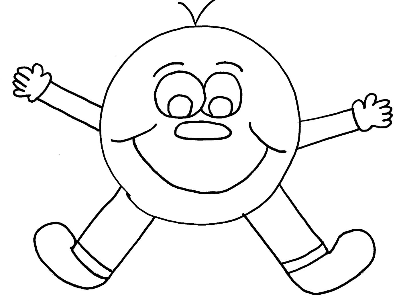 1400x1050 Circle Cartoon Happy Face Coloring Page Free Printable Pages