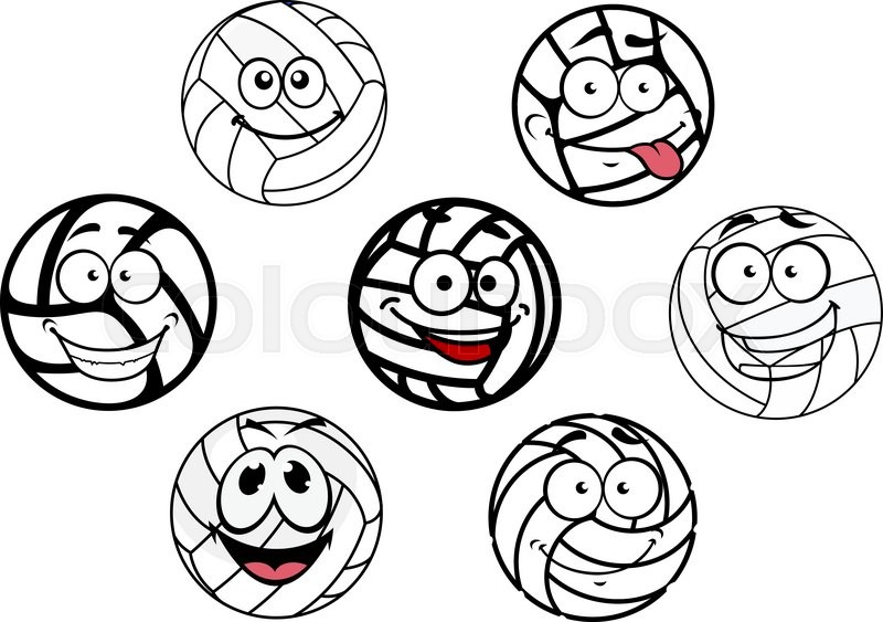 800x563 Funny Cartoon White Volleyball Balls With Cute Happy Faces