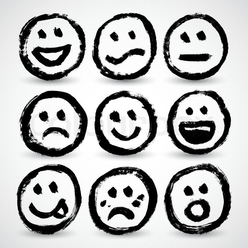 800x800 An Icon Set Of Grunge Cartoon Smiley Faces Stock Vector Colourbox