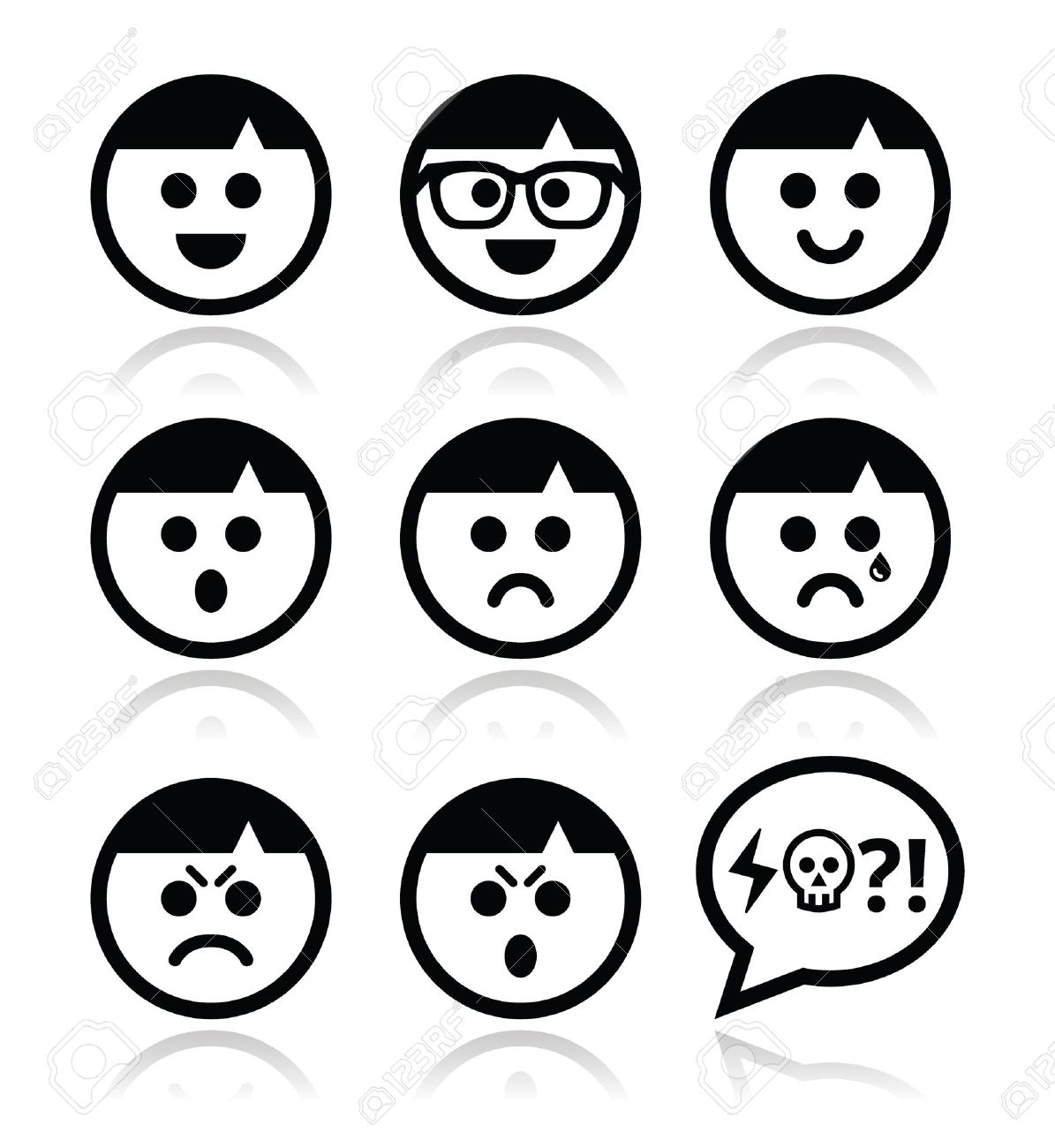 1195x1300 Smiley Faces, Avatar Vector Icons Set Royalty Free Cliparts