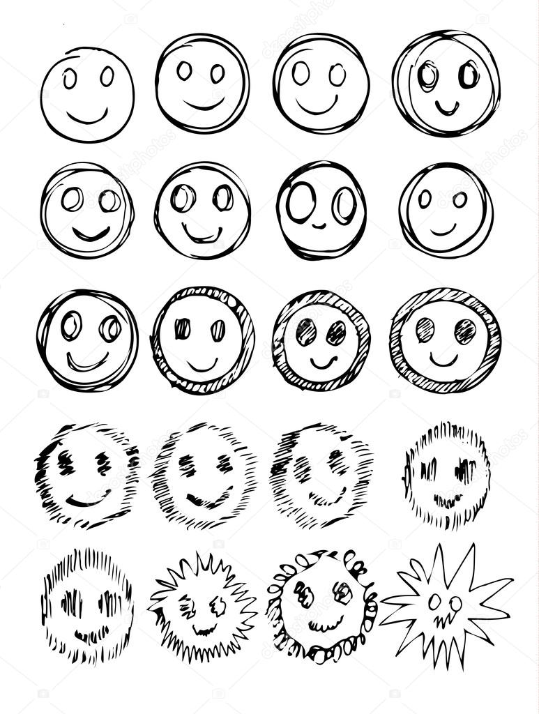 773x1024 Vector Set Of Hand Drawn Happy Faces, Smiles, Moods Isolated