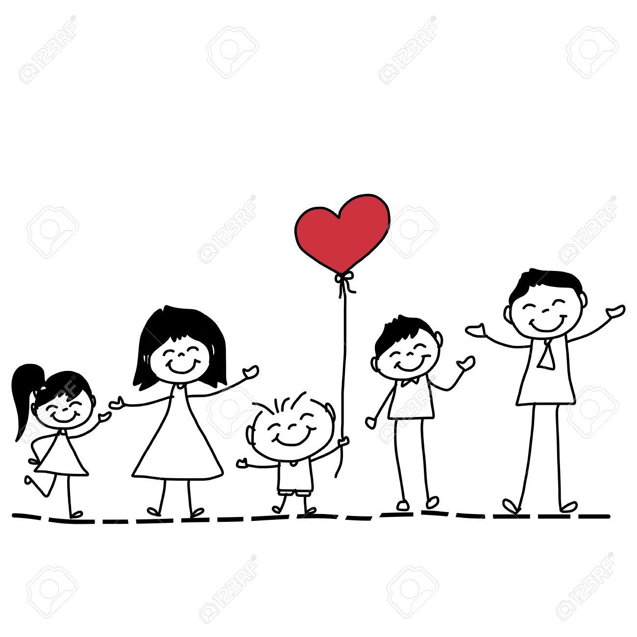 1300x1300 Hand Drawing Cartoon Character Happy Family Royalty Free Cliparts
