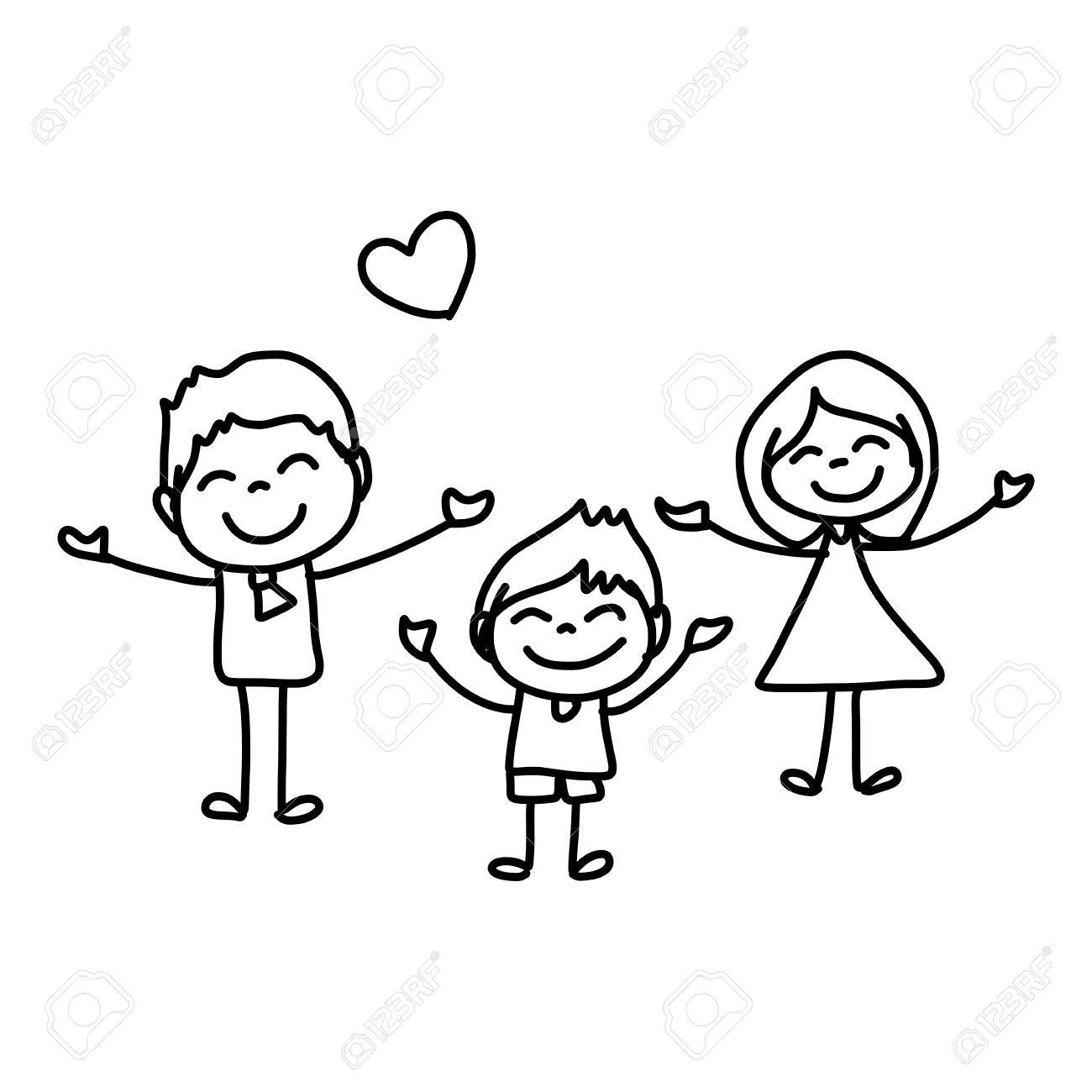 1300x1300 Hand Drawing Cartoon Concept Happy Family Royalty Free Cliparts