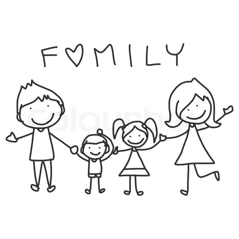 800x800 Hand Drawing Cartoon Happy Family Happy Lives Stock Vector