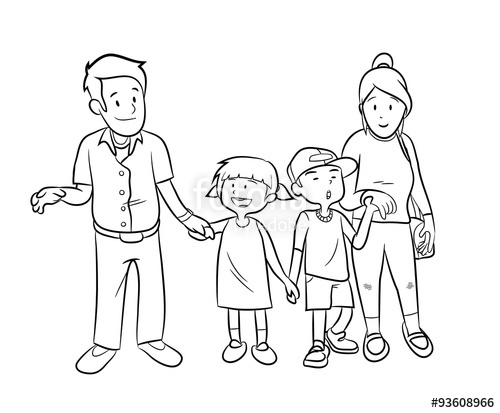 500x413 Happy Family Doodle, Hand Drawn Vector Doodle Illustration