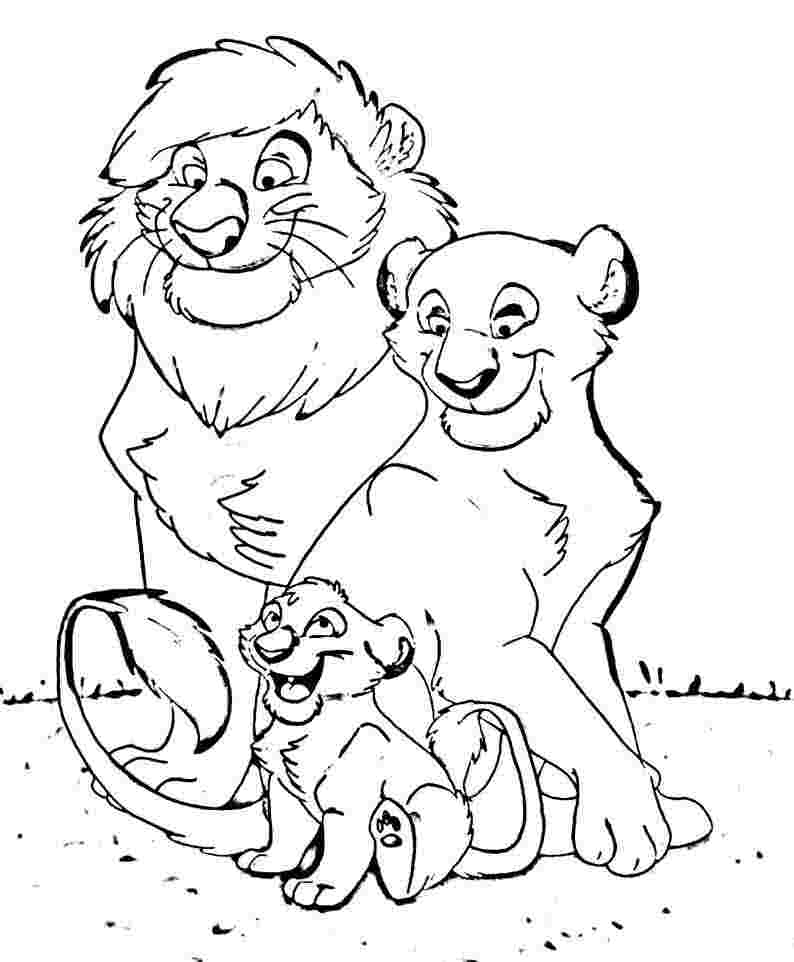 794x962 Happy Family Free Coloring Page Animals, Disney, Kids, Lion King