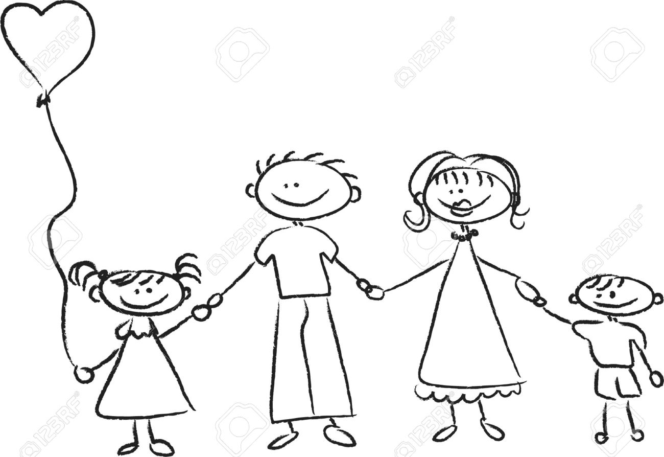 1300x894 Happy Family Holding Hands Hand Drawing Isolated On White