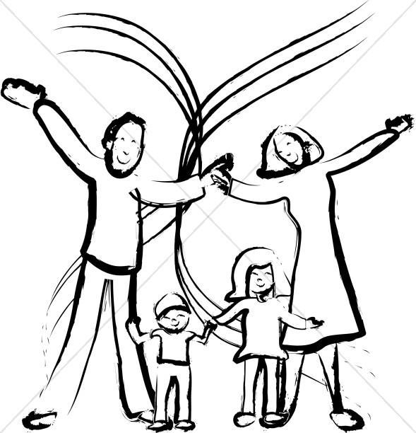 589x612 Happy Family Portrait Church People Clipart