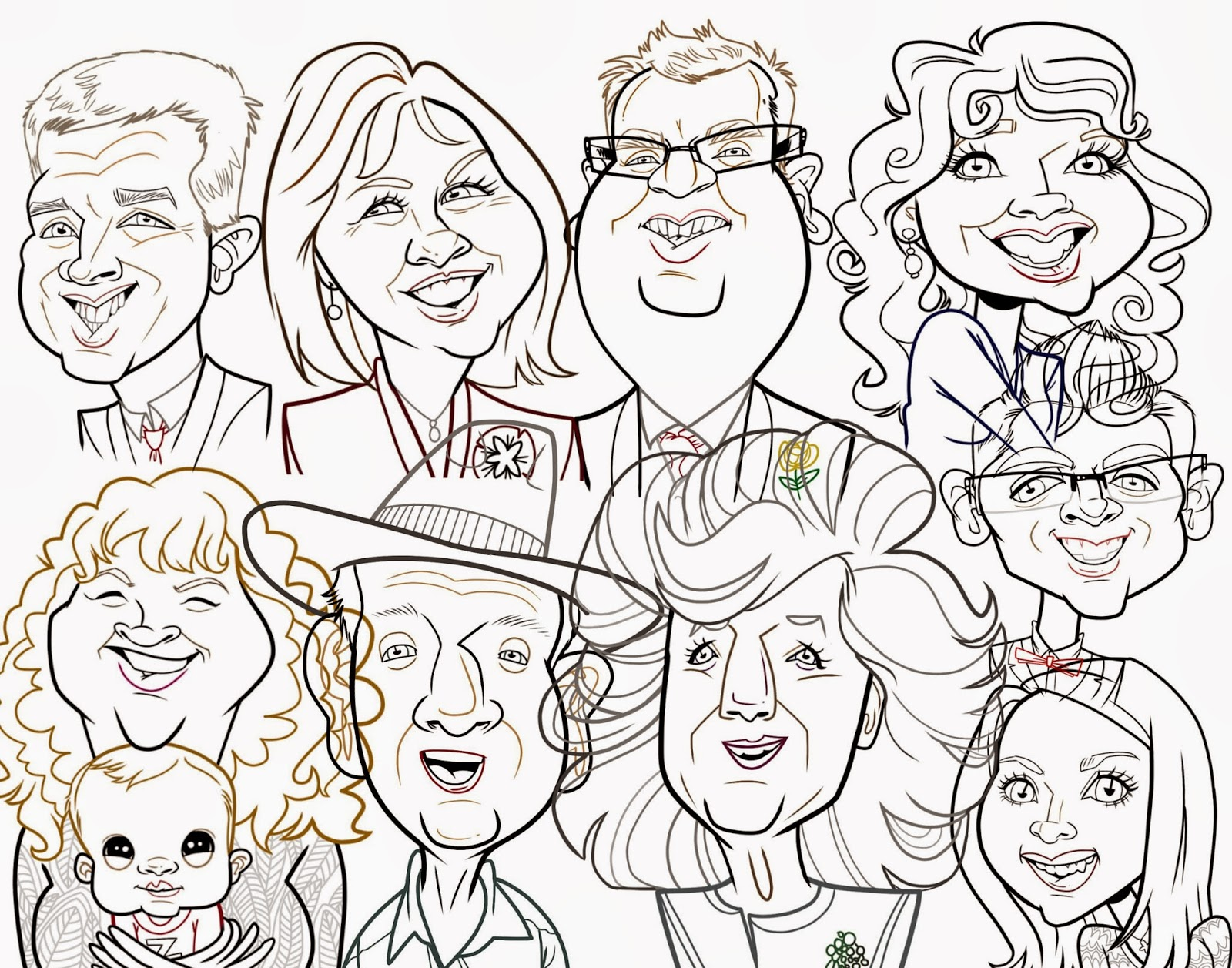 1600x1257 Big Family Caricature Fresh Baked Sketches
