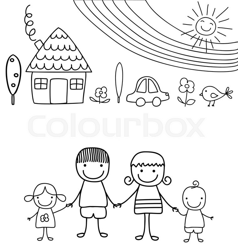 760x800 Happy Family And Rainbow, Black And White Child Like Drawing