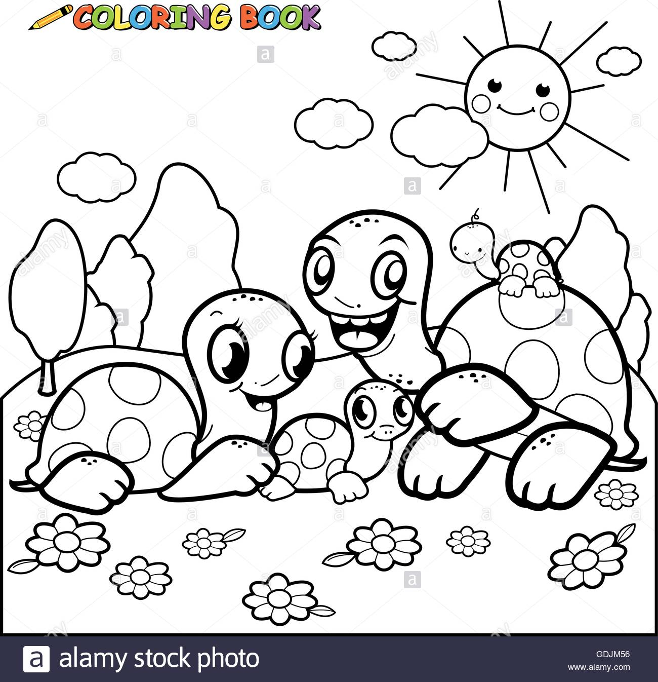 1300x1346 Black And White Outline Image Of A Happy Family Of Turtles Stock