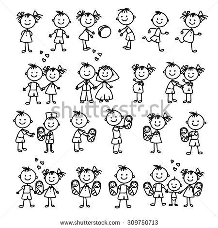 450x470 Vector Set Of Happy Family. Doodle Illustration. Stick Figure