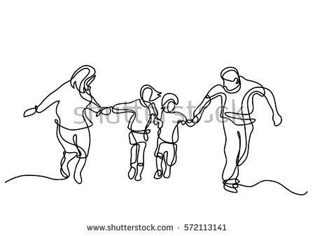 450x338 Continuous Line Drawing Of Happy Family Running People
