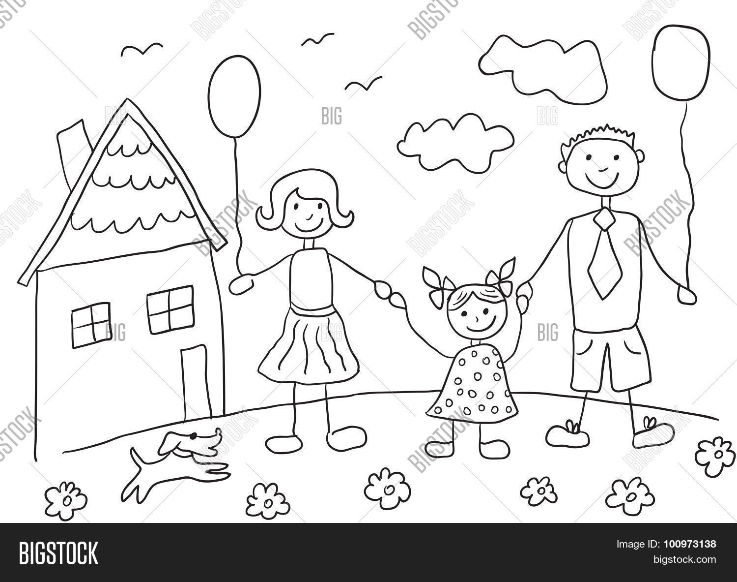 1500x1183 Child's Drawing Happy Family Dog. Vector Amp Photo Bigstock