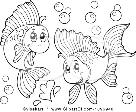 450x369 Clipart Two Outlined Happy Fish Playing Underwater