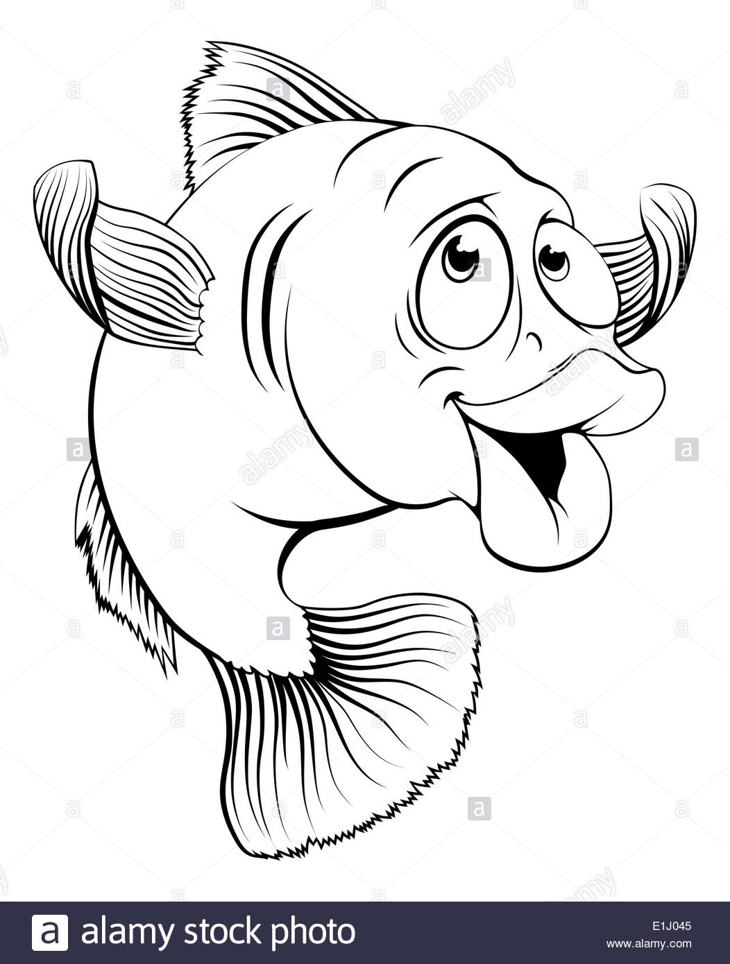 1052x1390 An illustration of a happy cute cartoon cod fish in black and