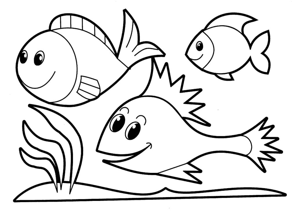 1008x768 Animals Printable Coloring Pages Happy Fish Animal Printable