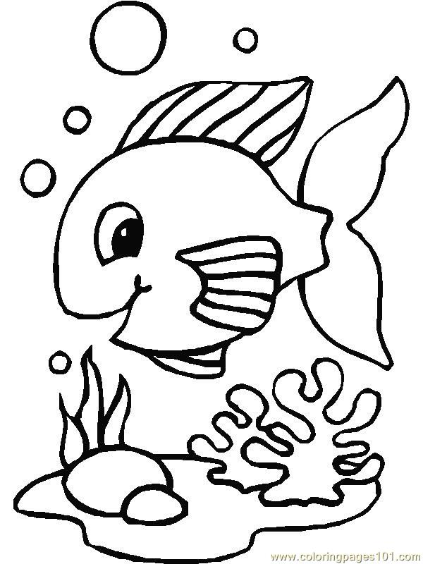 600x800 Happy fish Coloring Page