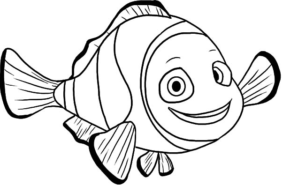 290x193 Printable happy fish coloring page
