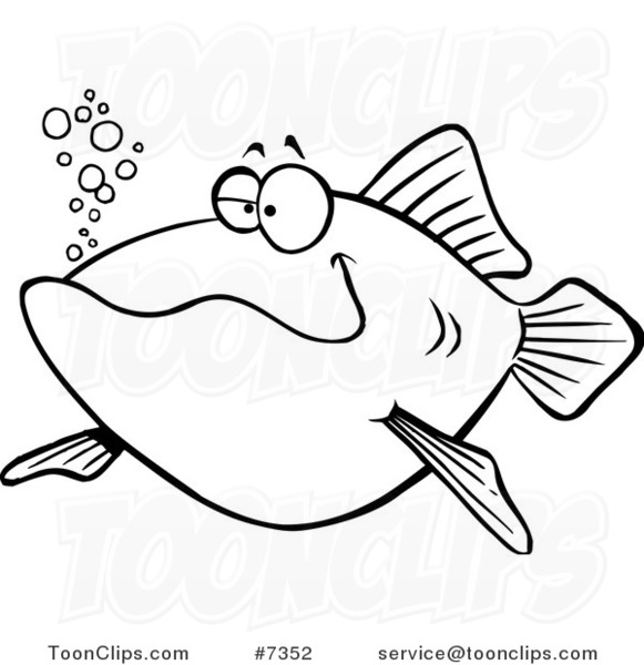581x600 Cartoon Black and White Line Drawing of a Happy Fish