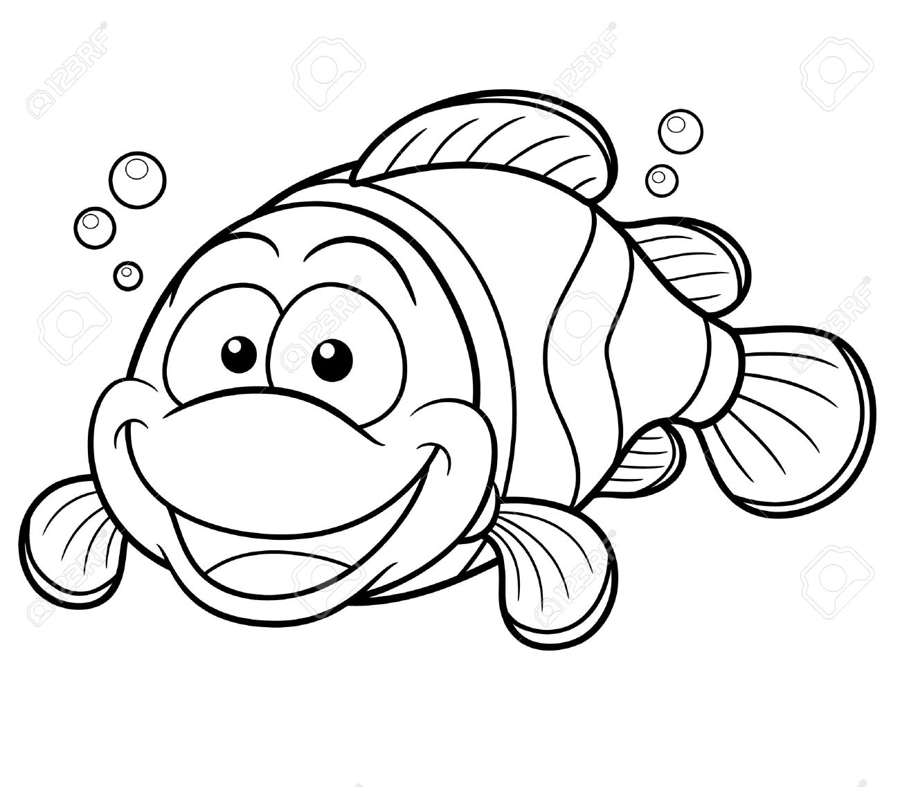 1300x1137 Vector Illustration Of Happy Clownfish Cartoon