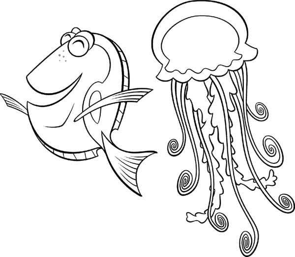 600x524 happy fish has jellyfish as a friend coloring page