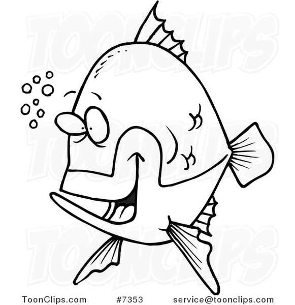 581x600 Cartoon Black and White Line Drawing of a Happy Fish with Bubbles