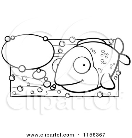 450x470 Cartoon Clipart Of A Black And White Happy Fish with Talk Bubbles