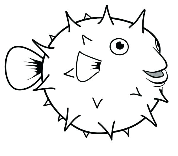 600x525 Cartoon Fish Coloring Pages Puffer Fish Happy Coloring Page For