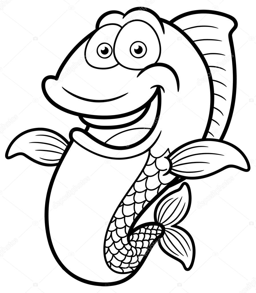 896x1024 Cartoon Happy fish — Stock Vector © sararoom