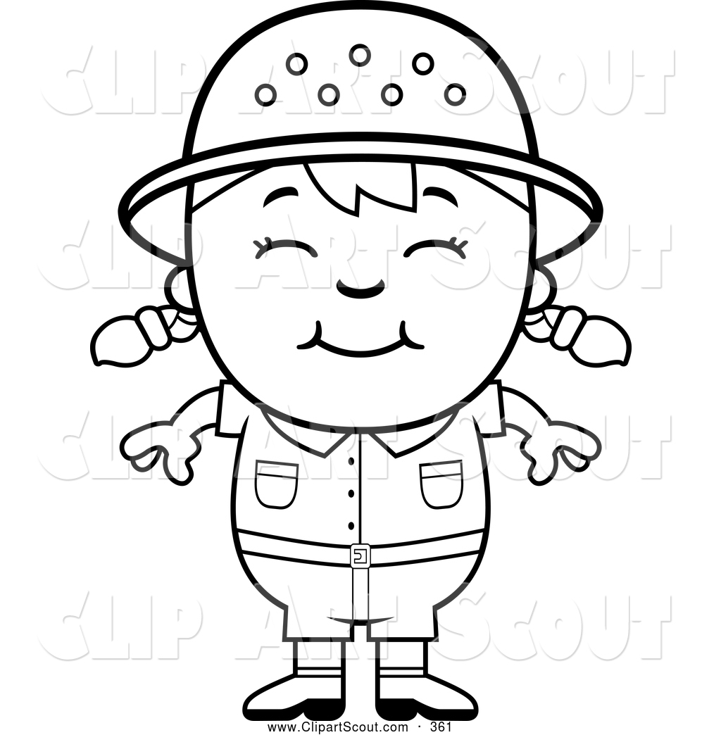 1024x1044 Clipart Of A Cute Black And White Happy Safari Girl By Cory Thoman