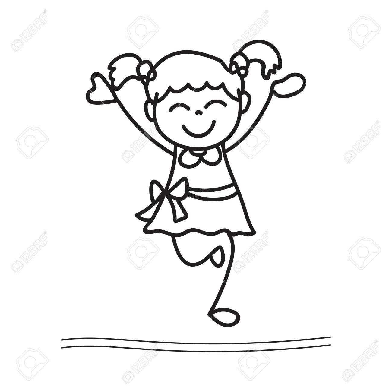1300x1300 Hand Drawing Cartoon Happy Girl Dancing Royalty Free Cliparts
