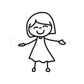 320x320 Hand Drawing Cartoon Happy Girl Happy Kid With Thank You Posture