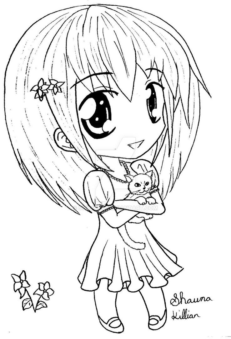 739x1081 Happy Chibi Girl With Cat By Shlyki84