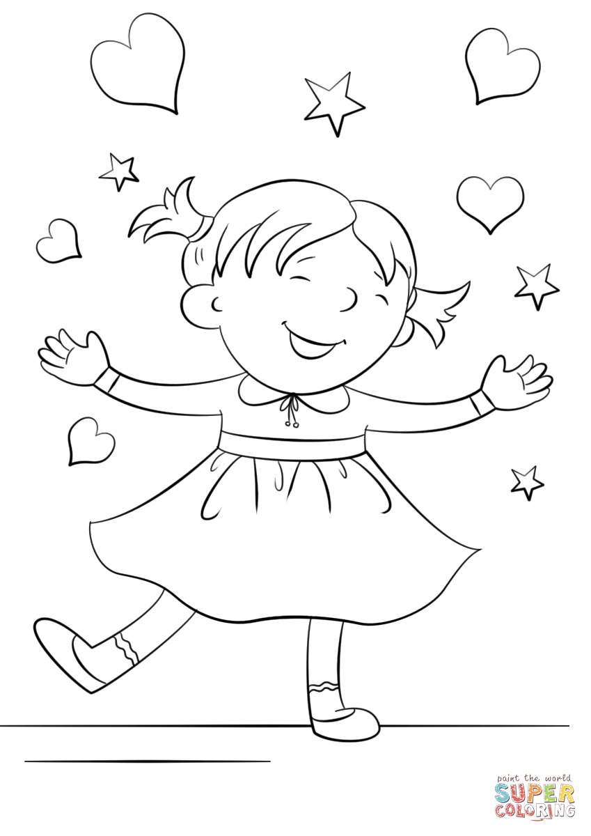849x1200 Happy Girl Coloring Page Free Printable Coloring Pages