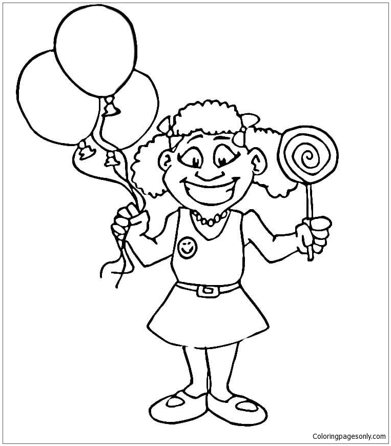 763x870 Happy Girl With Lollipop Coloring Page