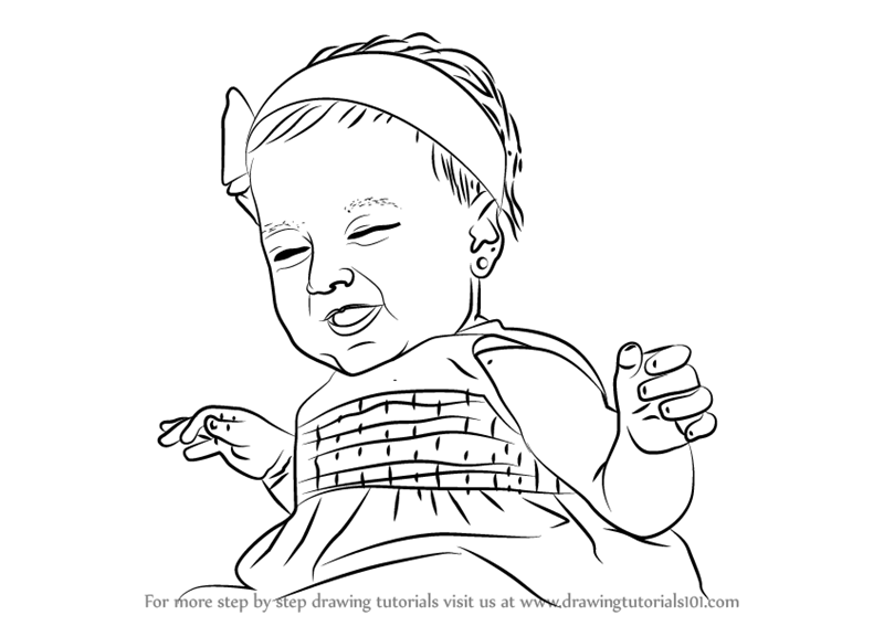 800x567 Learn How To Draw Happy Baby Girl (Other People) Step By Step