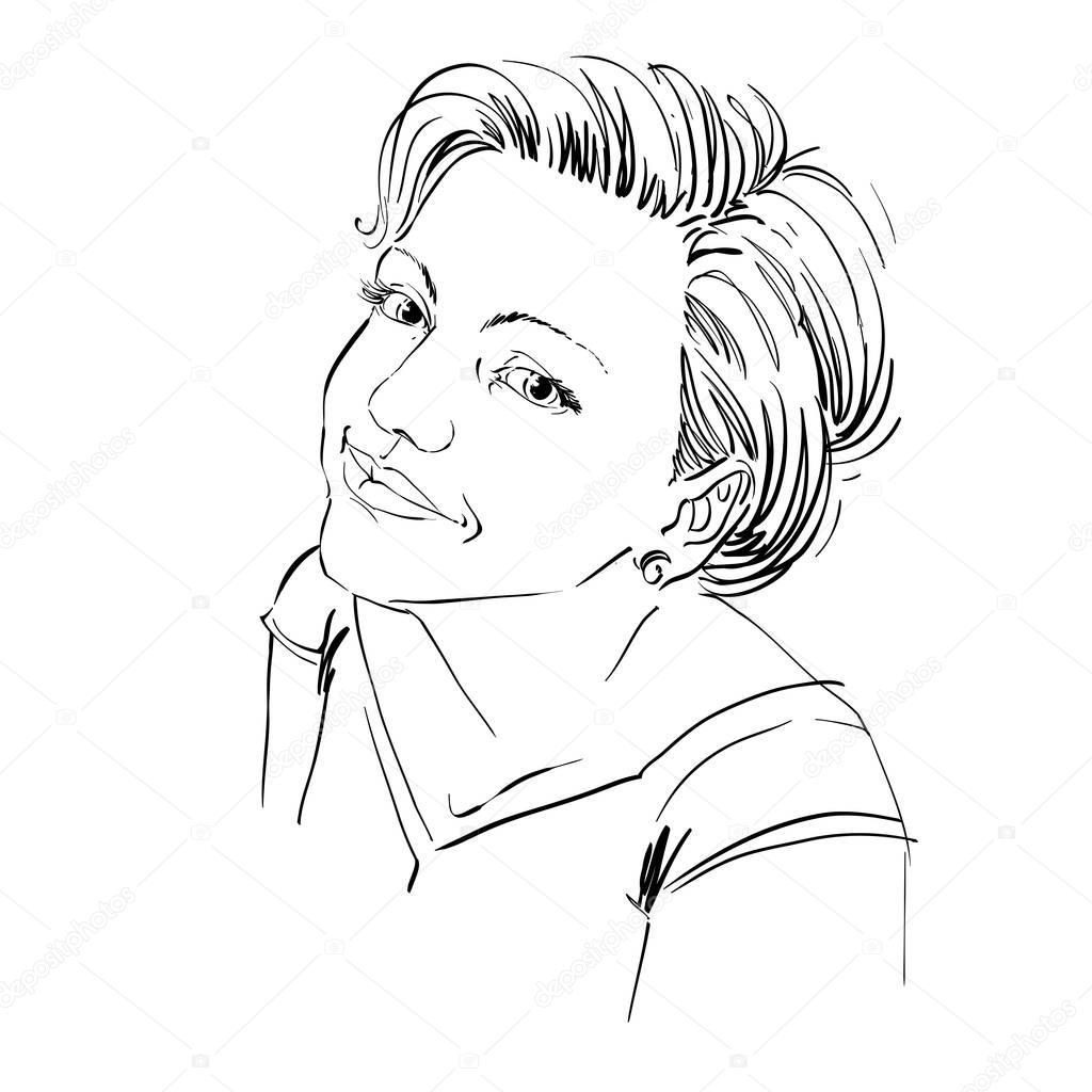 1024x1024 Gorgeous Happy Girl Sketch Stock Vector Ostapius
