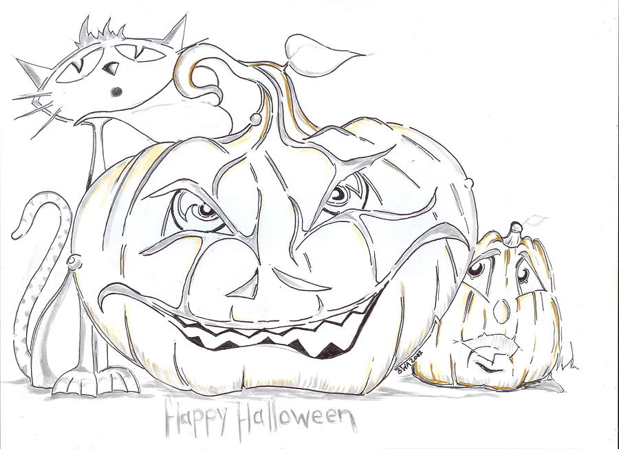 900x653 Happy Halloween Drawing By Brian Alexander