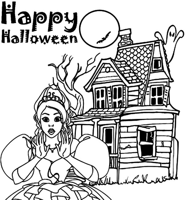 600x650 Happy Halloween Haunted House Coloring Pages Happy Halloween