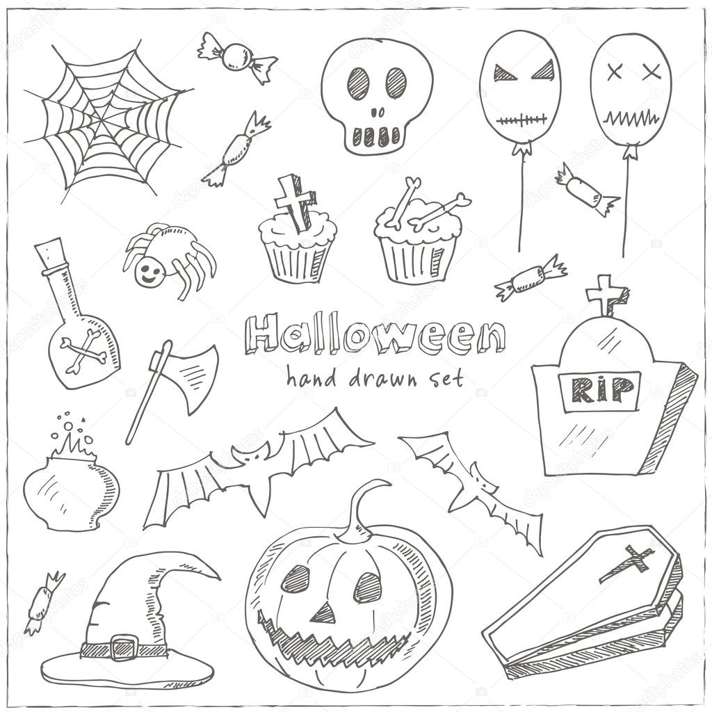 1024x1024 Happy Halloween Trick Or Treat Doodles. Hand Drawn Holiday Design