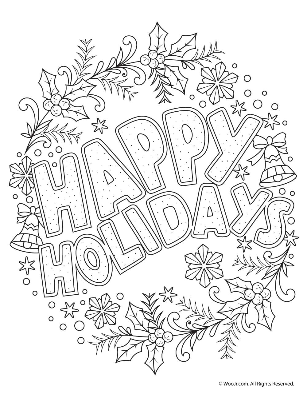 1000x1294 Happy Holidays Adult Coloring Freebie