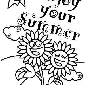 Happy summer holidays coloring pages