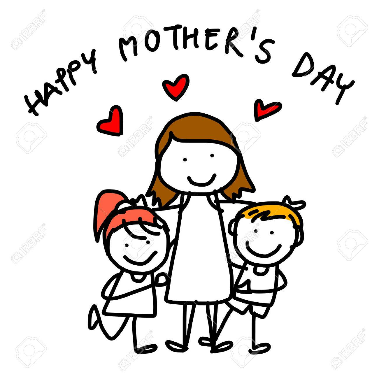 1300x1300 Hand Drawing Cartoon Concept Happy Kids Happy Mother's Day Royalty