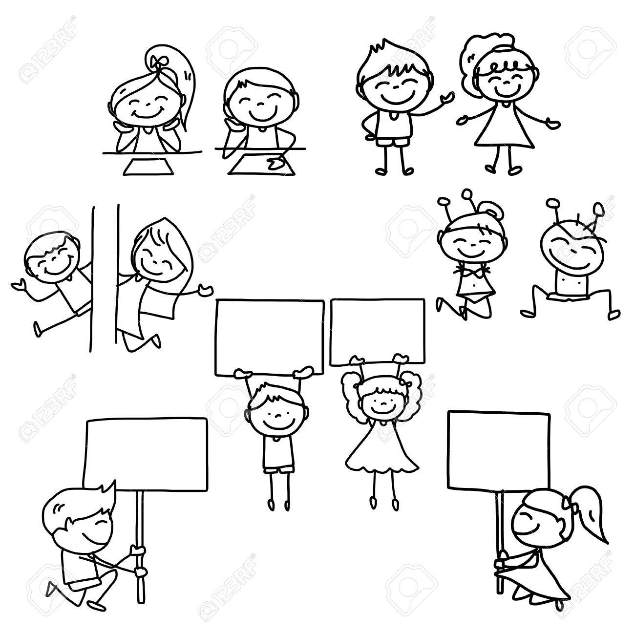 1300x1300 Hand Drawing Cartoon Concept Happy Kids Playing Royalty Free