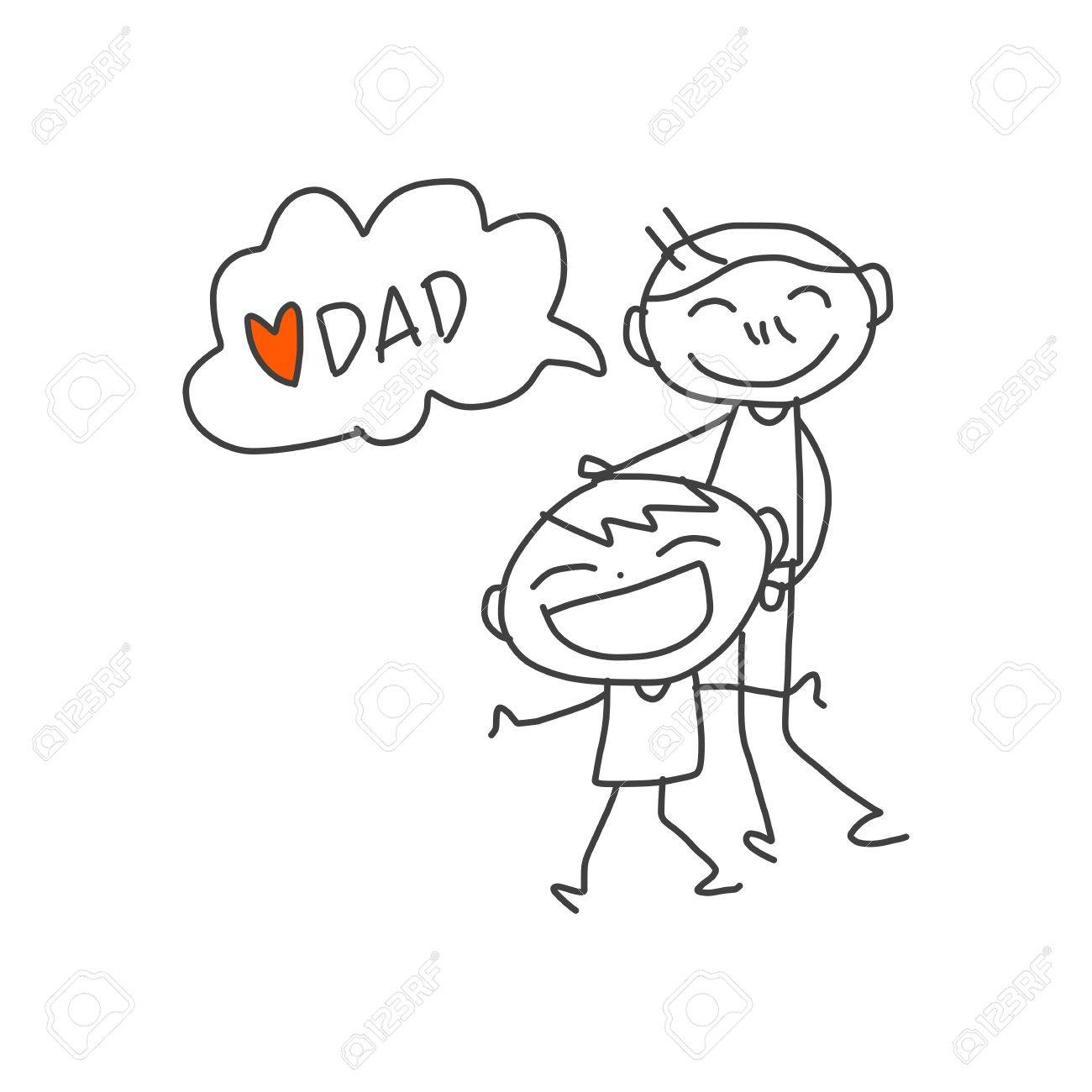 1300x1300 Hand Drawing Cartoon Happy Kids Playing With Dad Royalty Free