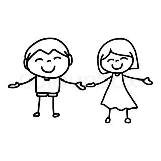 320x320 Hand Drawing Cartoon Character Happy Kids Meditation Stock