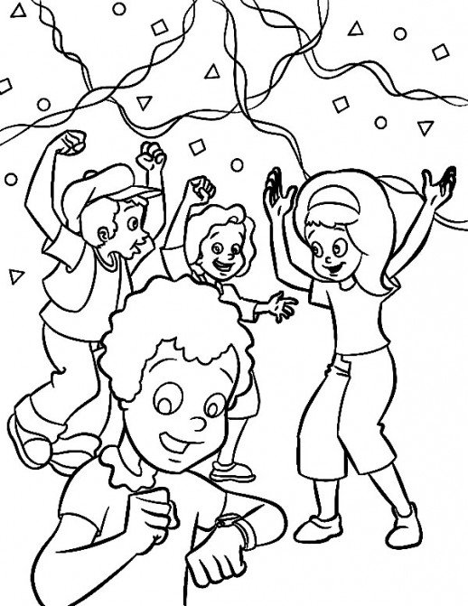 518x671 Happy Kids In Happy New Year Coloring Pages